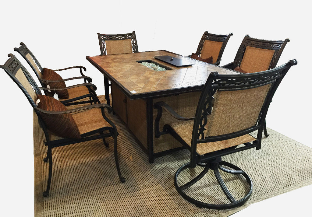 Athens rectangle fire dining table set