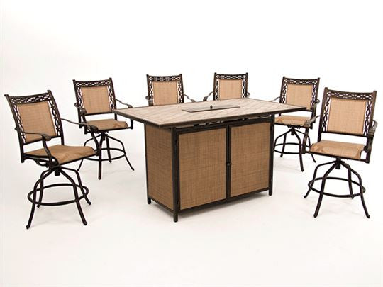 Athens Bar Height Fire Table Set – Leisure Depot
