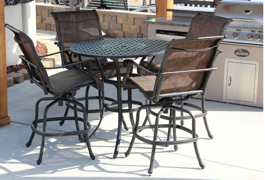 "Castle Rock 42"" Round Bar Table With Ice Bucket Set"