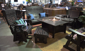 Evermore Casual Rollback Poly Seating with Granite Gas Firepit