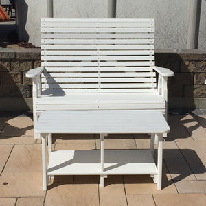 Country View Amish poly lumber double bench-white