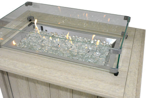 wood look recycled poly lumber fire table with glass beads