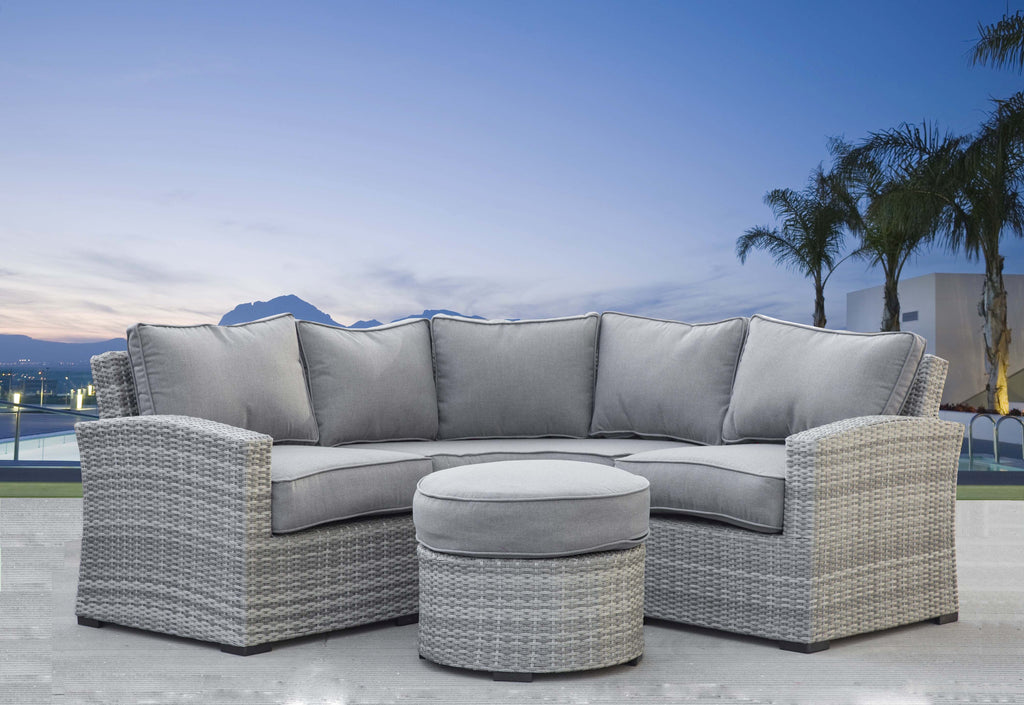 Elba 4 Piece Curved Gray Wicker Sectional Set