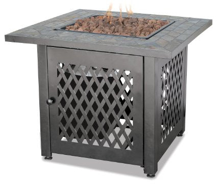 Stone Tile Top Square Gas Fire Pit