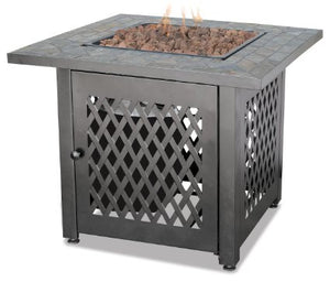 stone top square gas fire table