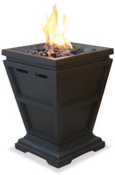 Black end table gas fire pit