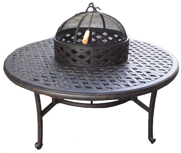 "Castle Rock 52"" Wood Fire Pit and Ice Bucket Table"