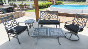Lotus cast aluminum outdoor seating collection