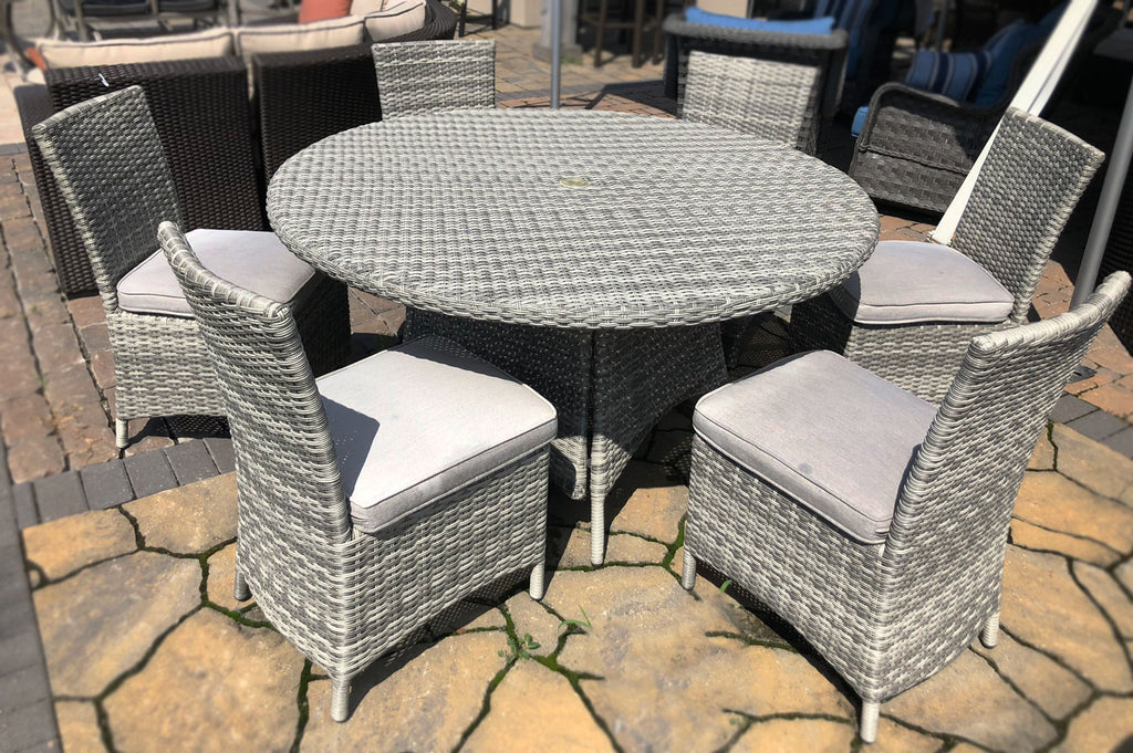 "53"" Round Gray Wicker Dining Set"
