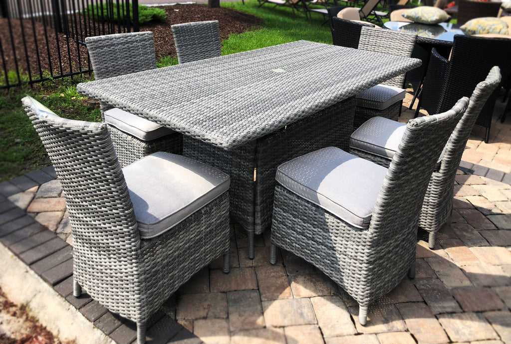7 Piece Rectangle Gray Wicker Dining Set