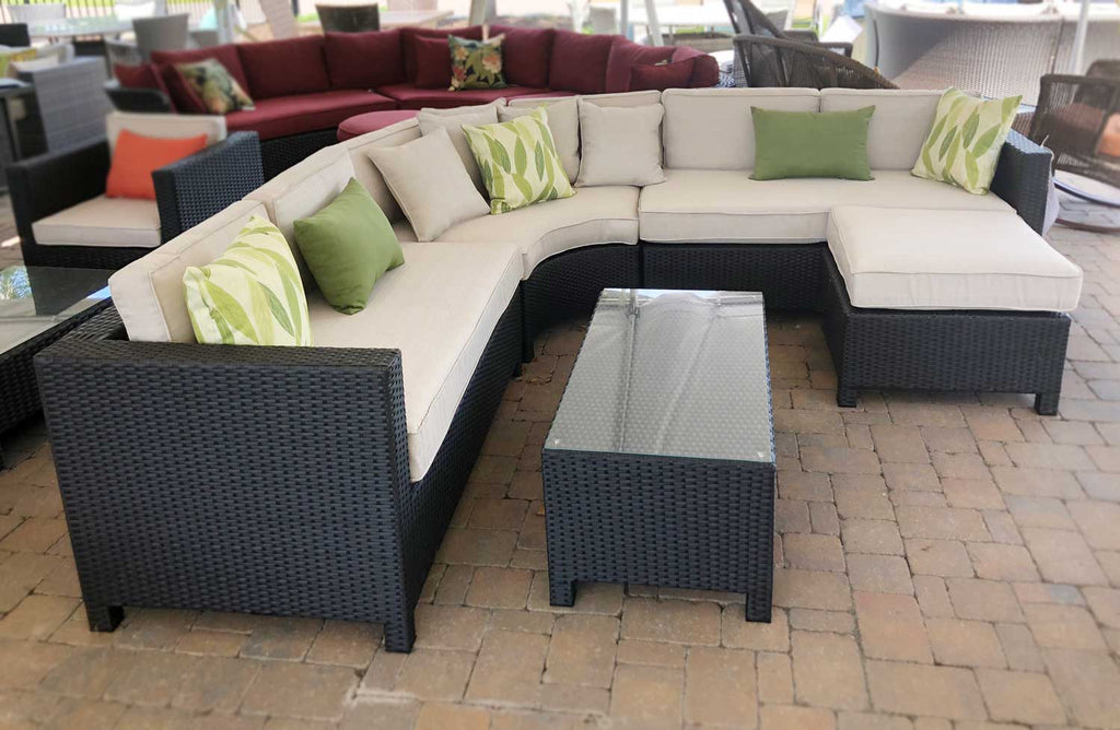 Curved 5 Piece Wicker Sectional Set
