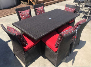 "70"" Rectangle Brown Wicker Dining Set"
