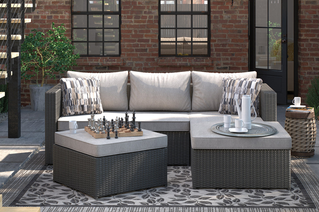 Compact resin wicker outdoor sectional