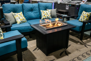 poly lumber fire table with glass beads
