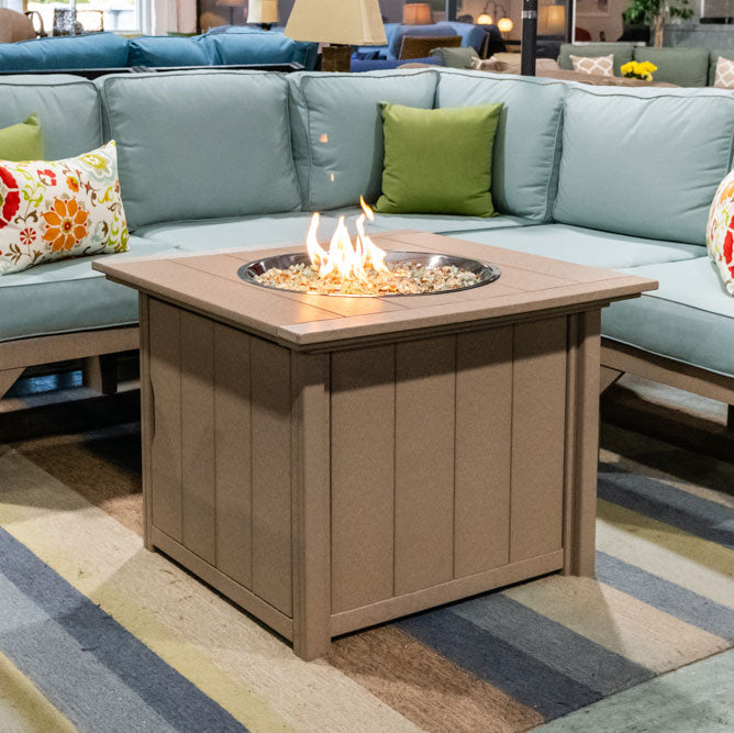 "Poly Lumber 33"" Square Gas Fire Chat Table"