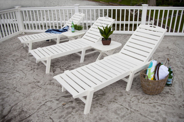 Polywood Nautical Armless Chaise Lounge With Wheels