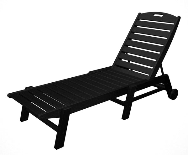 Polywood nautical armless chaise lounge with wheels for Armless chaise longue