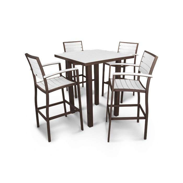 "POLYWOOD™ 36"" Euro Square Bar Height Dining Set - Traditional Colors"