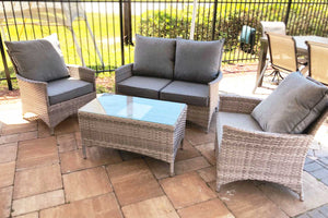 Sea Isle 4 Piece Gray Wicker Seating