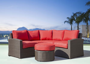 Tropea 4 Piece Curved Espresso Wicker Sectional Set