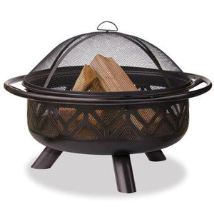 geometric cut out wood burning fire pit