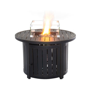 "Slatted Bronze 36"" Gas Fire Chat Table"
