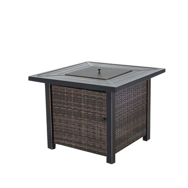 "Square Wicker 32"" Gas Fire Table"