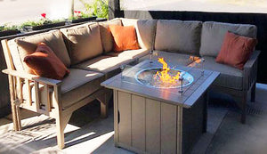 Carter poly lumber Amish outdoor deep seat sectional with fire pit