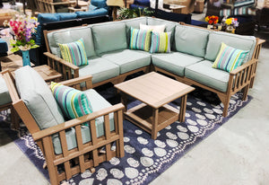 Carter poly lumber Amish outdoor deep seat sectional with coffee table