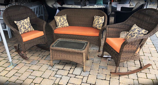 Darby Outdoor Wicker 4 PC Set with Rockers