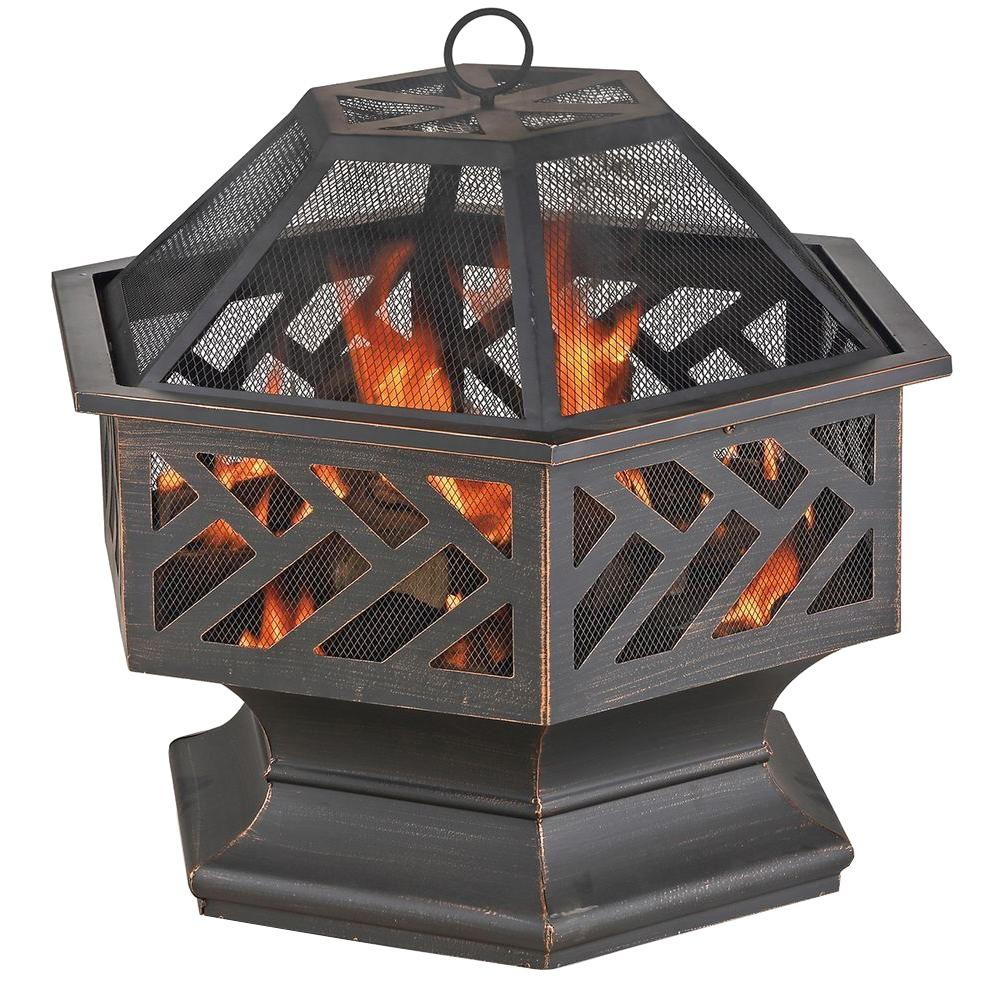 Hexagon Bronze Wood Burning Firepit
