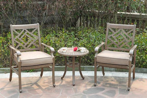 Lotus cast aluminum gray chairs with end table