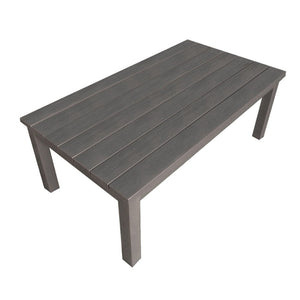 weathered gray aluminum wood look coffee table