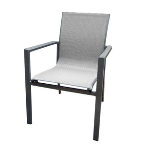 gray aluminum sling outdoor chair