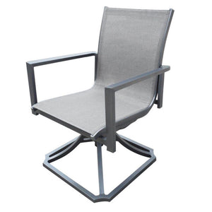 gray aluminum sling outdoor swivel rocker