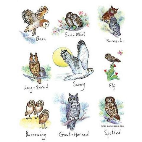Owls White Tea Towels