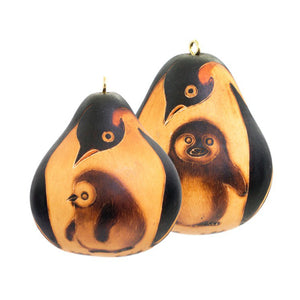 Penguin Mom & Chick Gourd Ornaments