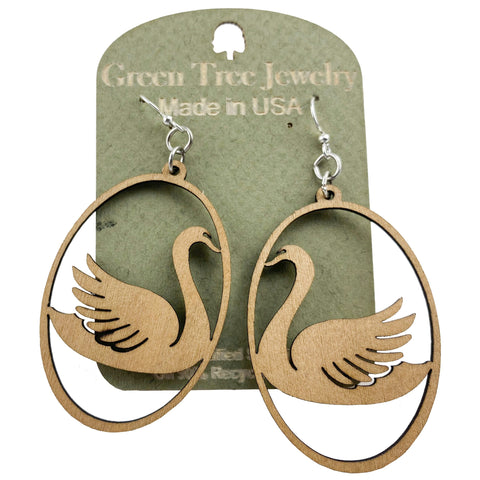 Swan in Oval Wooden Earrings