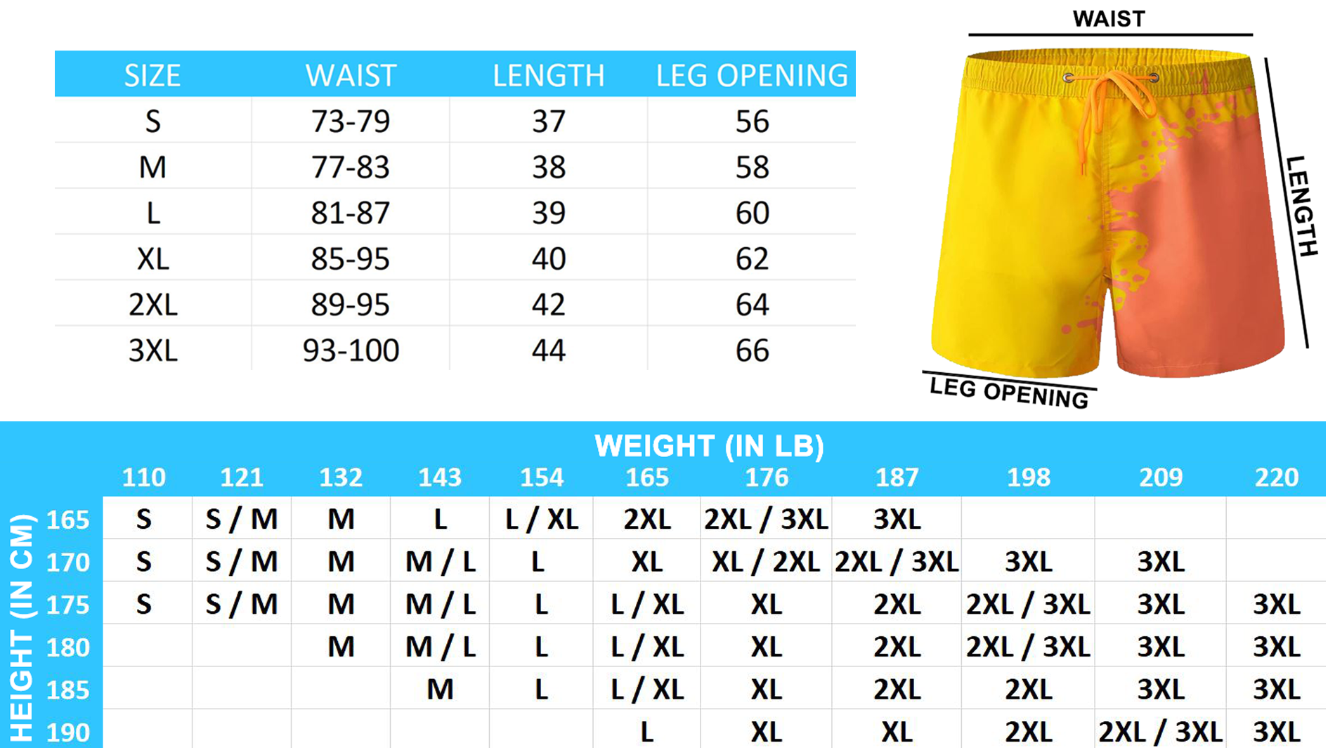 Size Chart The Magic Trunks