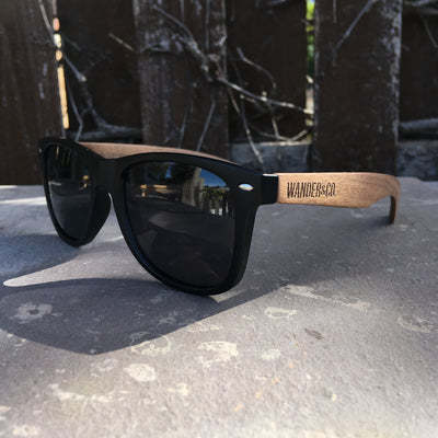 Wander & Co. Walnut + Black Sunglasses