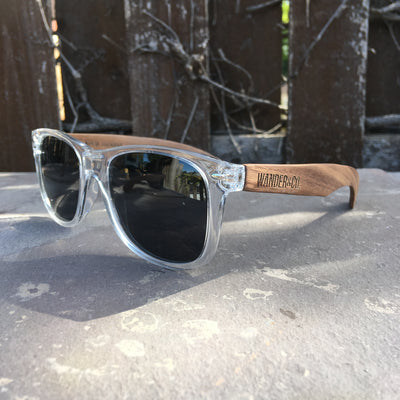 Wander & Co. Walnut + Clear Sunglasses