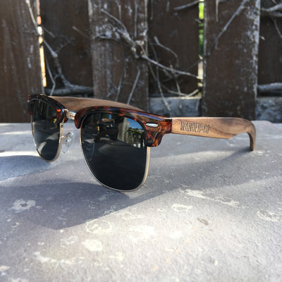 Wander & Co. Walnut + Tortoise Half-Rim Sunglasses