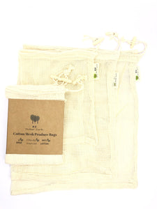 Three eco-friendly produce bags in 100% cotton mesh.