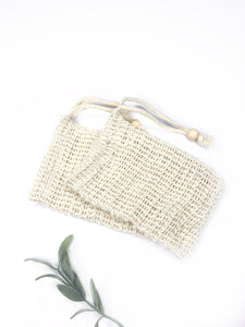 Sustainable plant-based exfoliating pouch.