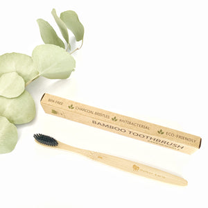 Eco-friendly bamboo toothbrush, BPA free with charcoal bristles