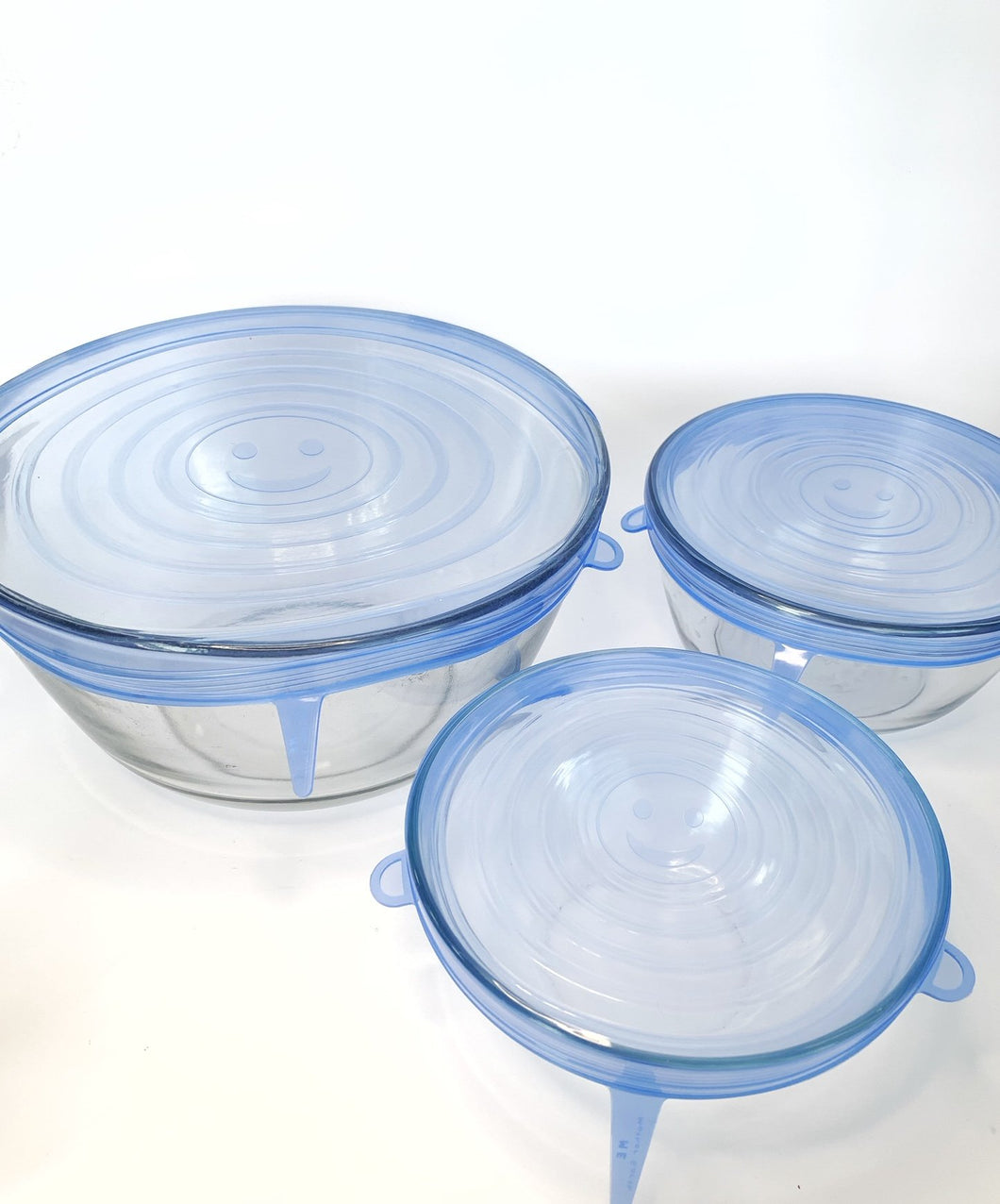 6 pack of sustainable silicone food storage covers in circle shapes and various sizes