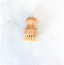 Load image into Gallery viewer, Eco-friendly palm and sisal plant fiber dish scrub brush with wooden handle.