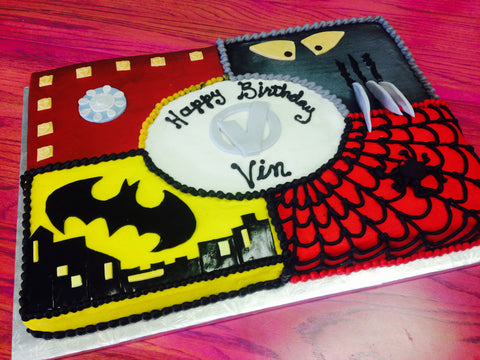 Quartered Superheros Sheet Cake