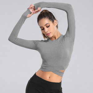 Women's Long-sleeved Short Quick-drying Yoga Top. YT-035