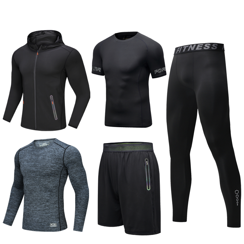 Men's new five-piece fitness suit, tight-fitting workout clothes can be worn in all seasons. SR-09M